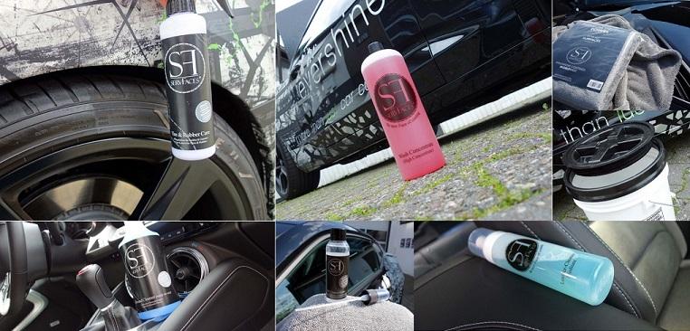 Das Foto zeigt die Produkte von evershine Fahrzeugaufbereitung im Autopflege-Shop in Gelsenkirchen. Die Produkte sind von ServFaces. Es zeigt Autoshampoo, Felgenreiniger, Lederreiniger, Mikrofasertuch, Trockentuch.