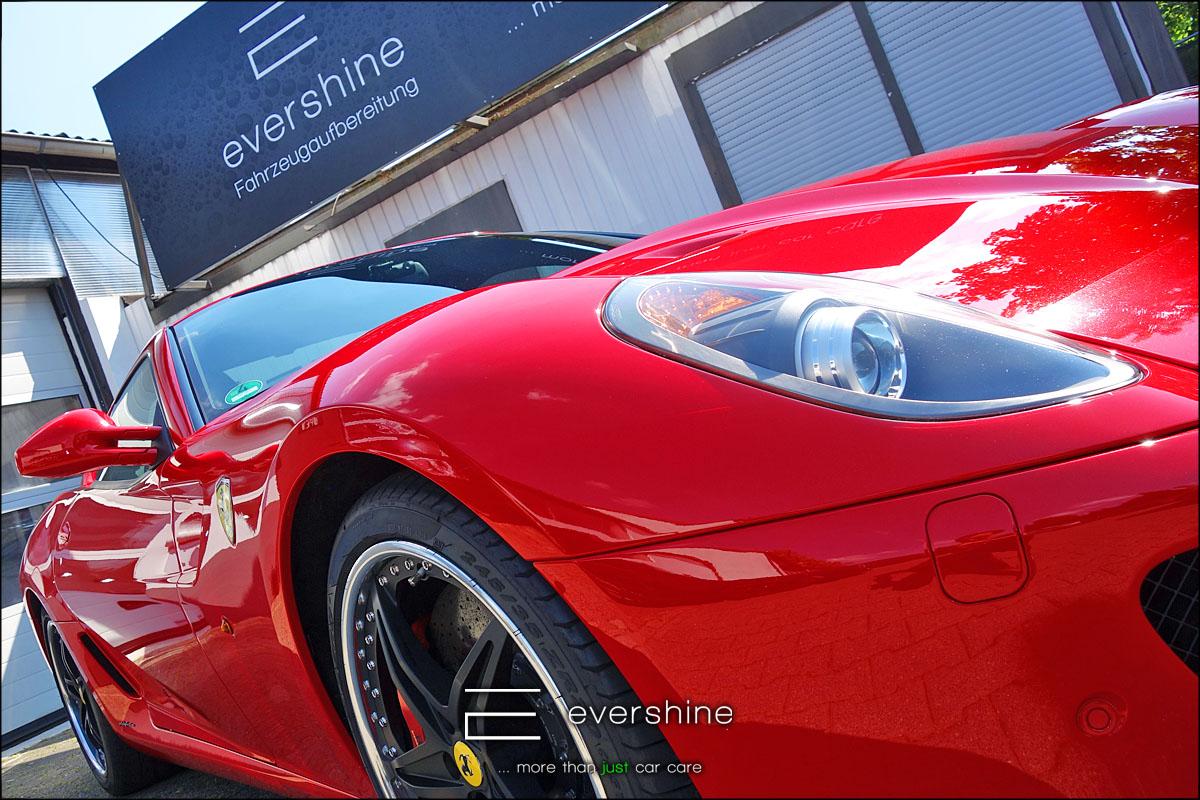 evershine Fahrzeugaufbereitung zeigt einen Ferrari F599 GTB nach einer Lackaufbereitung und Keramikversiegelung in Gelsenkirchen
